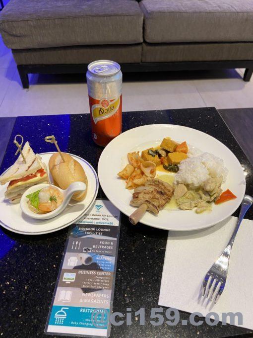 スワンナプーム空港オマーン航空ラウンジの料理