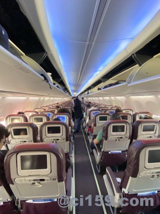 マレーシア航空B737-800の機内