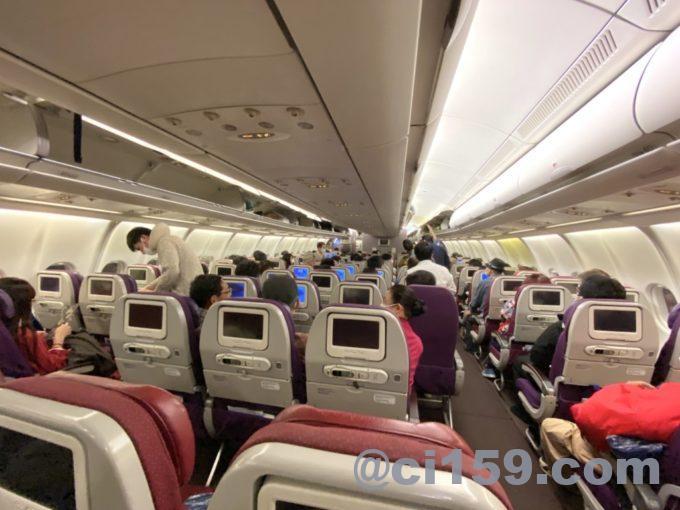 マレーシア航空MH52の機内