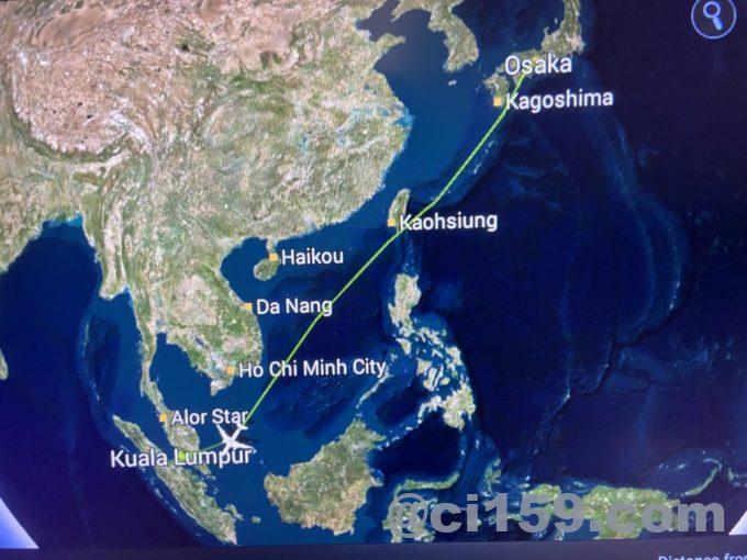 マレーシア航空MH53のフライトマップ