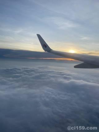 マレーシア航空の機内からの景色