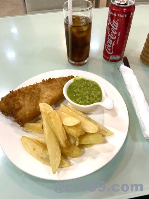 Battered,cod,chips,mushpeas