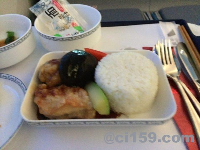 中国南方航空ビジネスクラスの機内食