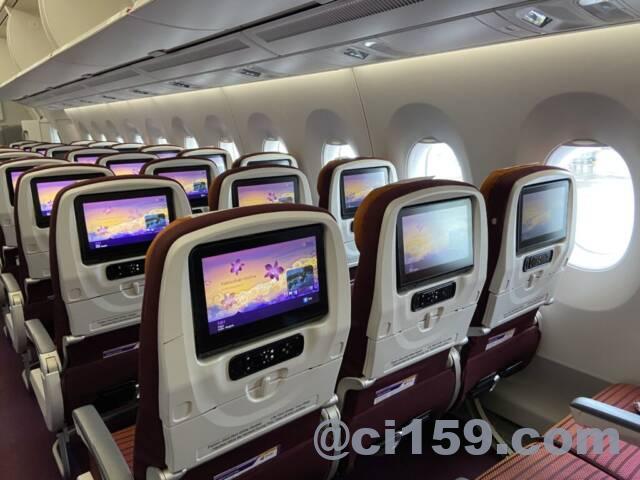 タイ国際航空エアバスA350-900の機内