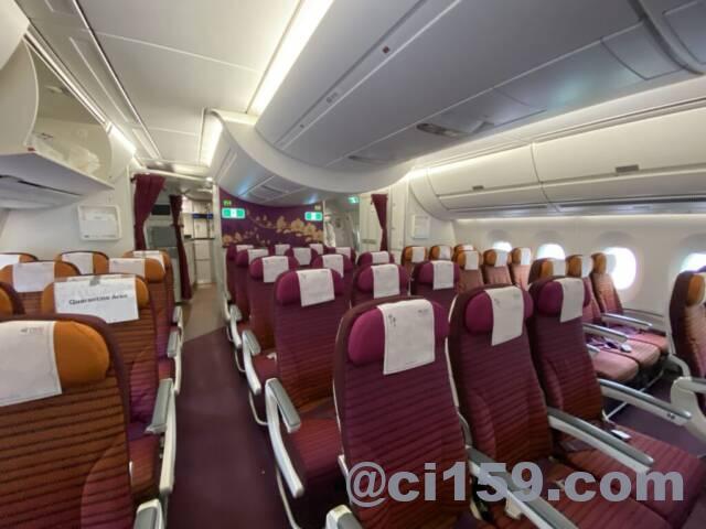 タイ国際航空エアバスA350の機内