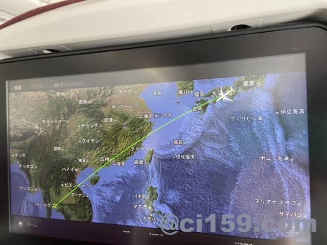 TG623便のフライトマップ