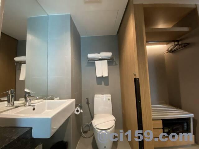 シーミースプリングツリーホテルのトイレと洗面台
